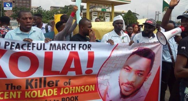 university of Benin protest - University Of Benin Alumni Protest Over Killing Of Kolade Johnson