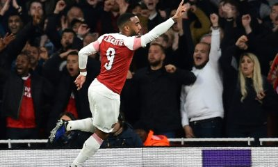 Arsenal French striker Alexandre Lacazette scored twice against Valencia in the Europa League semi-final first leg on 2 May 2019 in London