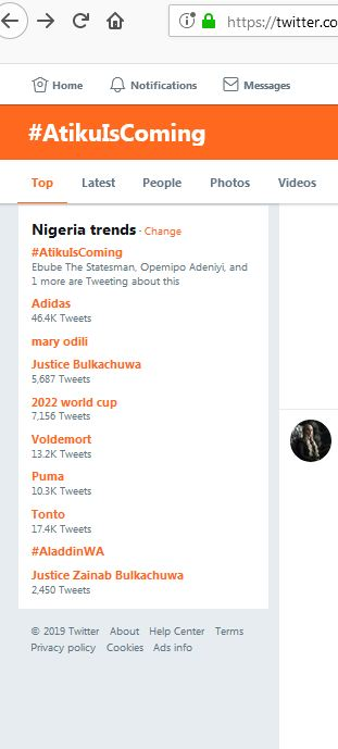 AtikuIsComing twitter trend - #AtikuIsComing Tops Nigerian Twitter Trend After Justice Bulkachuwa's Withdrawal