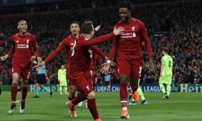 Belgian striker Divock Origi (N.27) qualifies Liverpool by scoring the 4th goal against Barcelona at Anfield on 7 May 2019