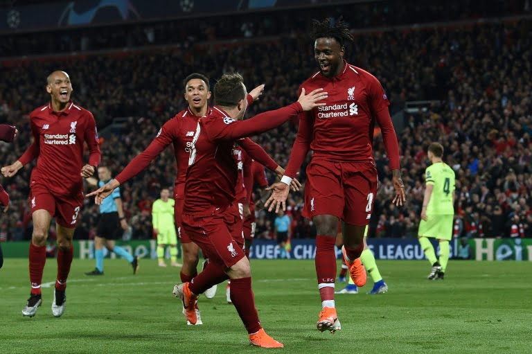 Belgian striker Divock Origi N.27 qualifies Liverpool by scoring the 4th goal against Barcelona at Anfield on 7 May 2019 - Ronaldo Reacts To Liverpool's 4-0 Victory Over Barcelona