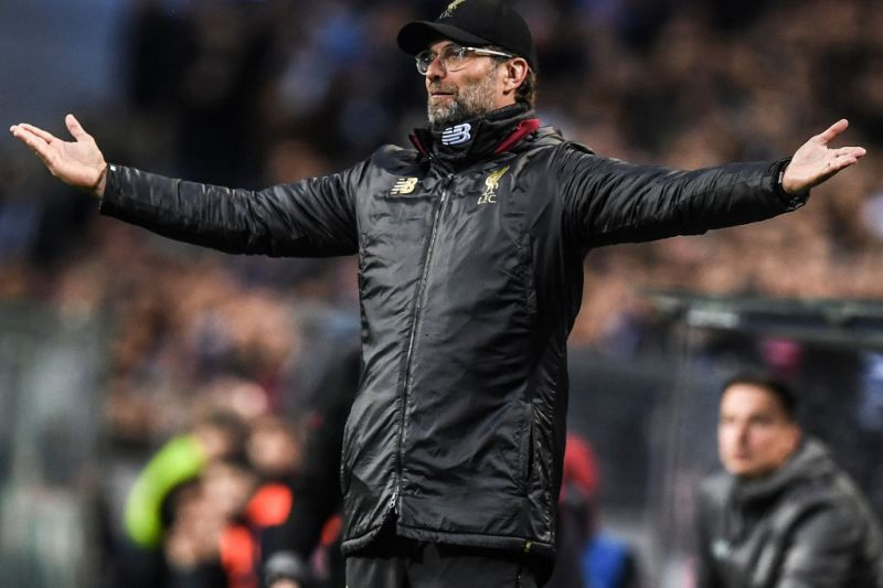 Liverpool Coach Jurgen Klopp celebrating after defeating Barcelona