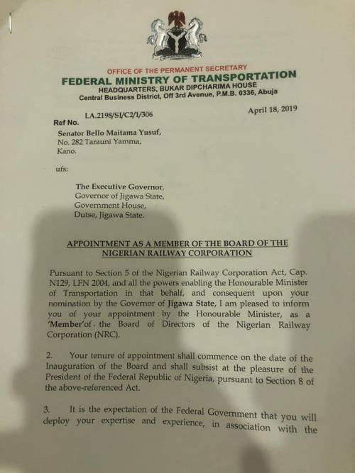 Letter 1 - Buhari Appoints Alleged Corrupt Ex-Minister