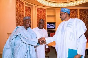 Masari Buhari 300x200 - Insecurity: Buhari Meets Katsina Governor, Masari In Abuja