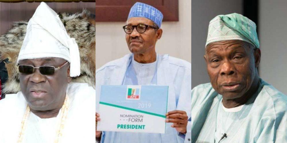 Oba of LagosBuhari and Obasanjo 1000x500 - Atiku Vs Buhari: Ex-VP Will Not Win In Court, Obasanjo Creating Problems – Oba Of Lagos