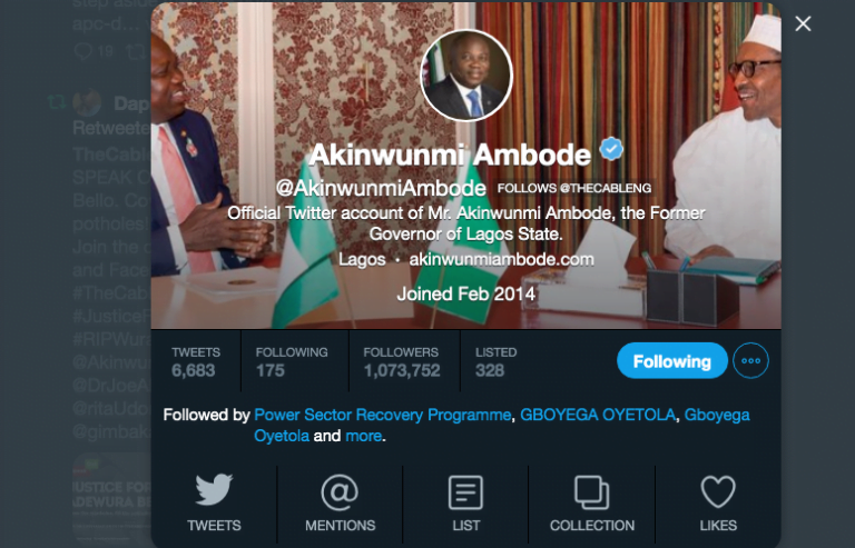 Screen Shot 2019 05 28 at 5.25.20 PM 768x493 - Ambode Amosun Sign Out Of Their Offices, Change Twitter Handles To 'Former Governor'