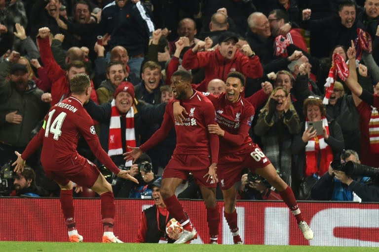 The joy of the Liverpool players after the third goal scored by Georginio Wijnaldum c Anfield May 7 2019 - Champions League: Liverpool's Incredible Comeback