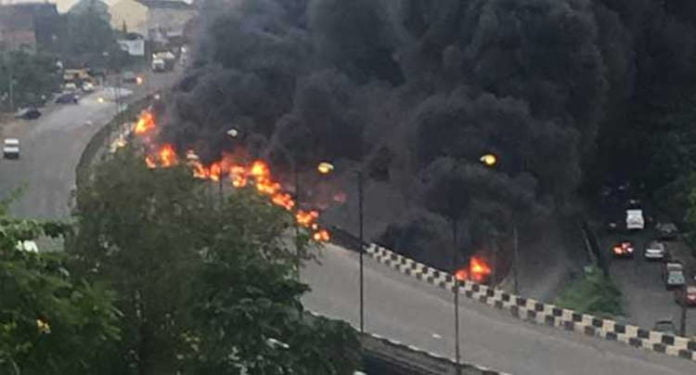 File Photo From Third mainland bridge fire