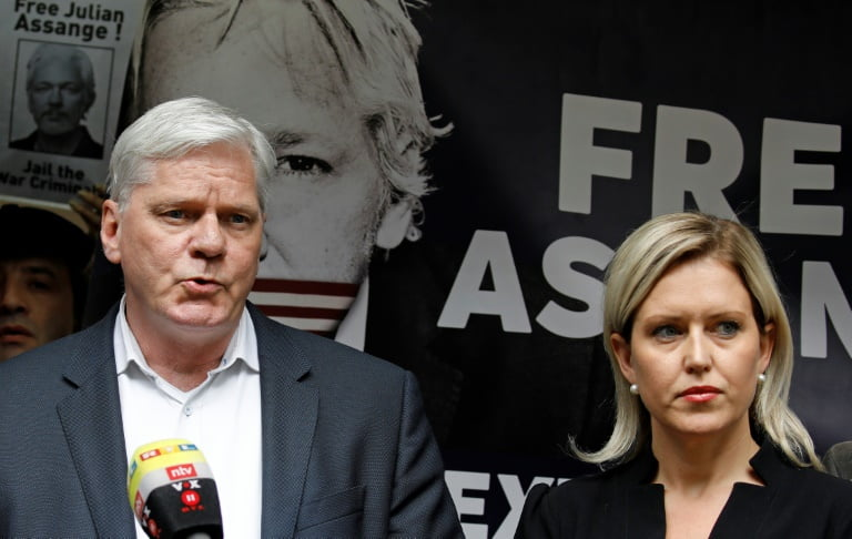WikiLeaks Editor in Chief Kristinn Hrafnsson G and Lawyer Jennifer Robinson Address Journalists in Southwark Court in London May 1 2019 - Assange's Request For Extradition To The United States Examined
