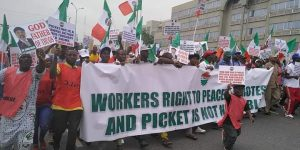 nlc protest against minister of labour chris ngige photos 2 300x150 - Minimum wage: Labour To Commence Street Protests Again