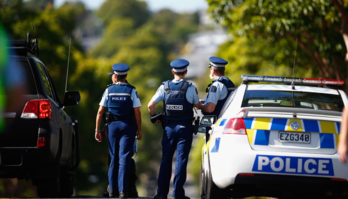 Police Arrive At The Scene Of Armed Incident At Blockhouse Bay