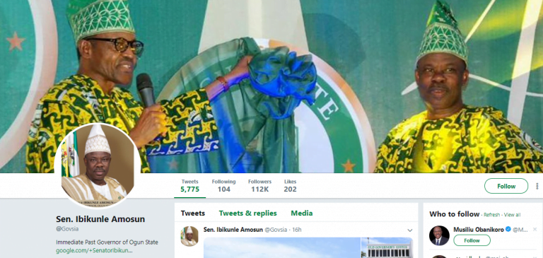 twitter amosun 768x365 - Ambode Amosun Sign Out Of Their Offices, Change Twitter Handles To 'Former Governor'