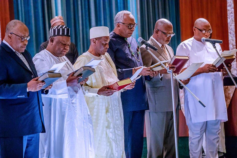 65189695 2278224358936558 650786484210630656 n - Pictures: President Buhari Swears-In RMAFC Chairman, Members