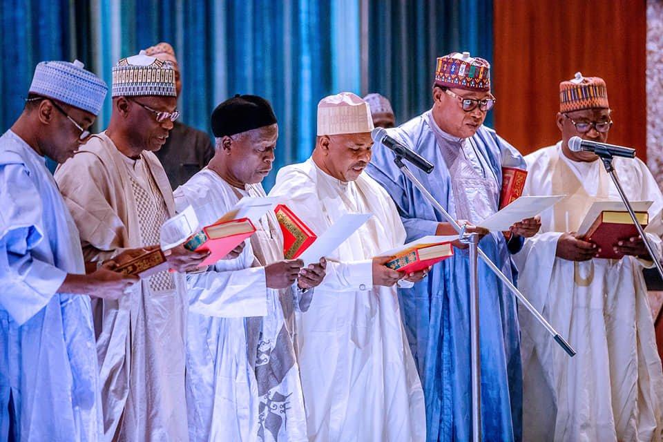 65203020 2278224845603176 4436972877744439296 n 1 - Pictures: President Buhari Swears-In RMAFC Chairman, Members