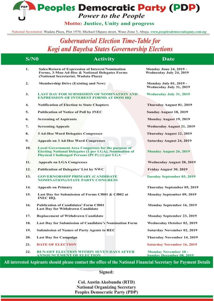 PDP schedule of activities for Kogi, Bayelsa elections