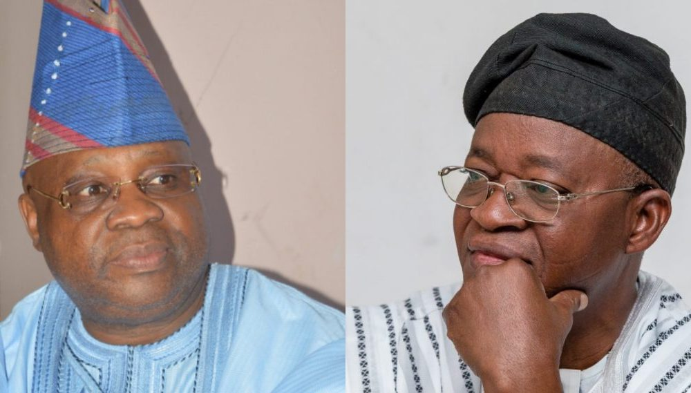 Adeleke and Oyetola 1000x569 - Osun Guber: PDP Chieftain Accuses Party Of Fielding Candidate Without Academic, Intellectual Capacity