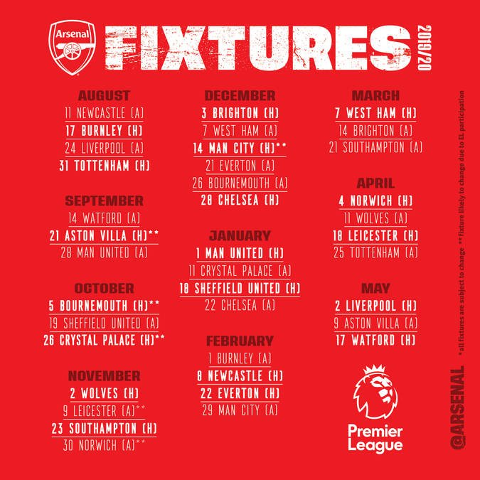 Arsenal Schedule 2020 Full Arsenal 2019/2020 Premier League Fixtures : Nigeria Daily Mirror