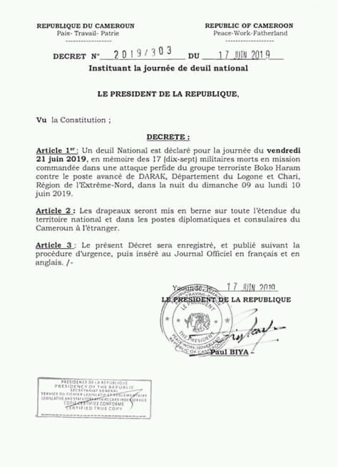 D9S6w7uU4AAQjZA - Cameroun Declares National Mourning Day For 17 Soldiers Killed In Boko Haram Battle