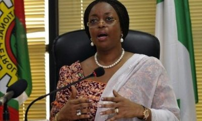 Nigeria's former Minister of Petroleum Diezani Allison-Madueke speaks at a media briefing on a new gas price regime in the capital of Abuja