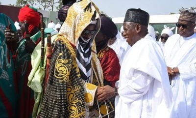 Eid Mubarak: See Emir Sanusi's Reaction On Meeting Ganduje (Photo)
