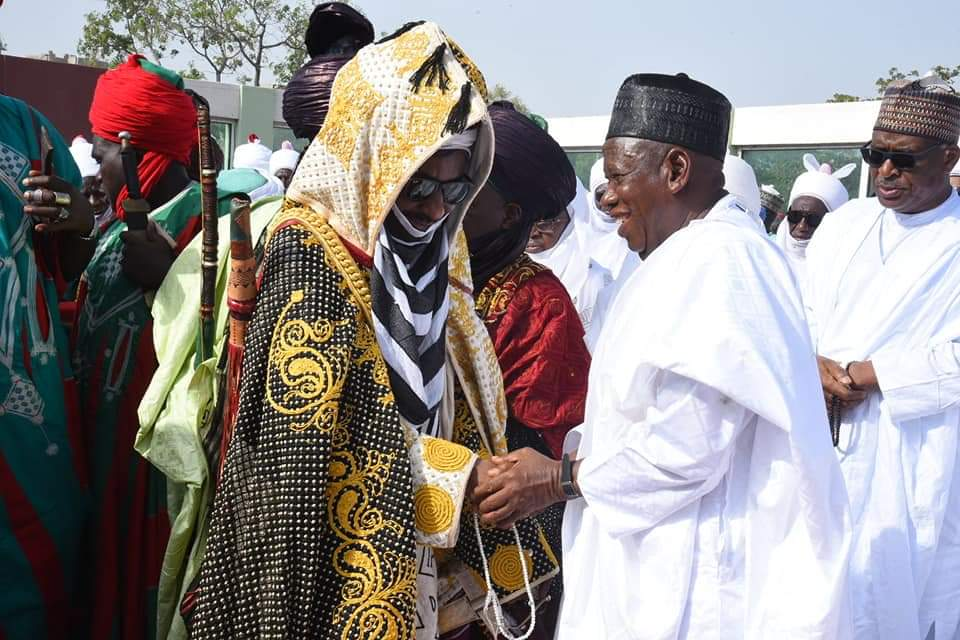 Emir Sanusi and Ganduje at eid prayer ground - Eid Mubarak: See Emir Sanusi's Reaction On Meeting Ganduje (Photo)