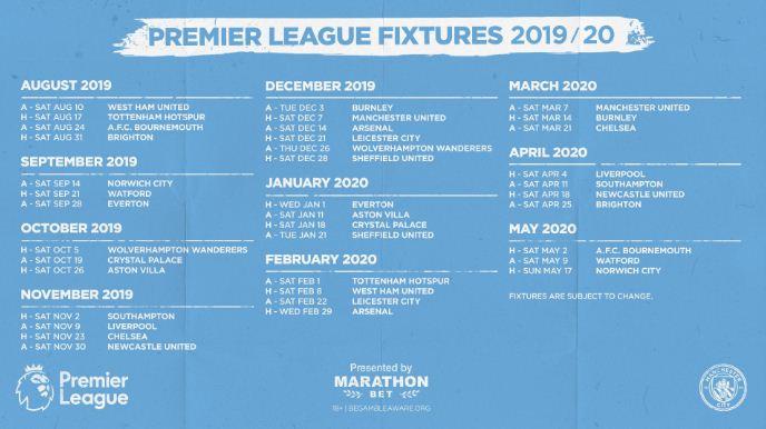 Full Manchester City 2019/2020 Premier League Fixtures #Nigeria Manchester City