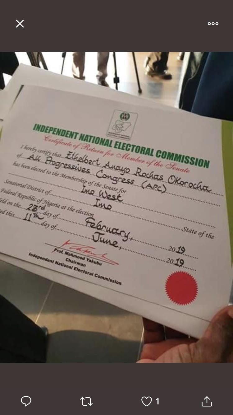 Rochas Okorocha - Finally! INEC Issues Rochas Okorocha's Certificate Of Return, See Photos