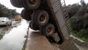 Truck 1 - Trouble As Dangote Truck Crashes In Lagos (Photos)