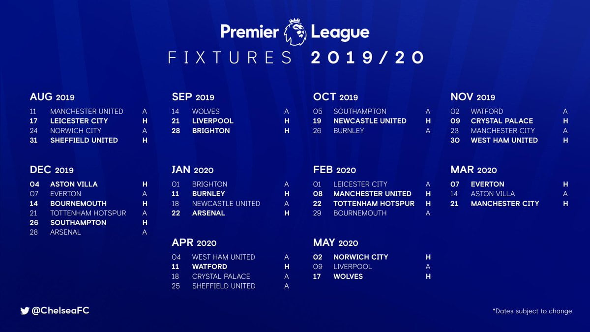 chelsea - Full Chelsea 2019/2020 Premier League Fixtures
