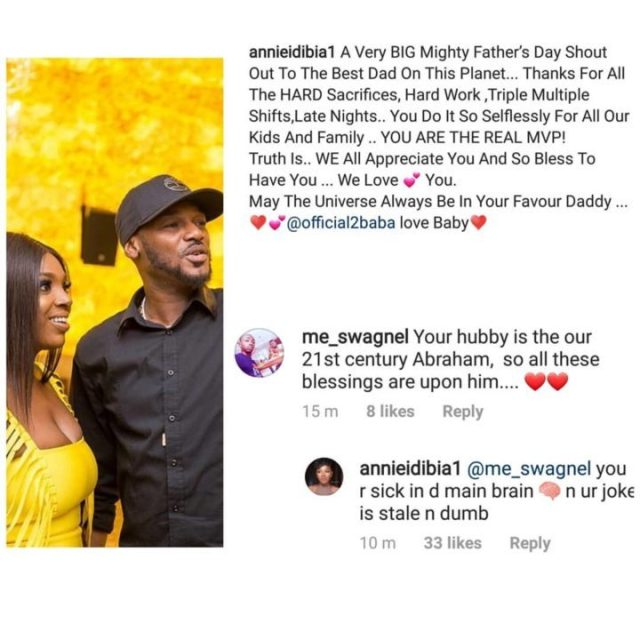 lindaikejiblogofficial 20190616 0002 - Annie Idibia Insults Fan Who Called 2Face 'Father Abraham'