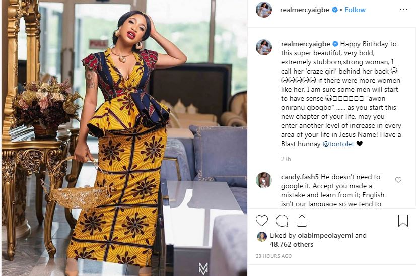 mercy aigbe wishes tonto dikeh happy birthday