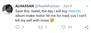 the day i ll buy davidos album let car hit me nigerian man says 300x108 - I Should Be Hit By A Car The Day I Buy Davido's Album – Twitter User