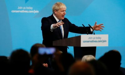 Boris Johnson at the tribune at the British Conservative Party headquarters after the proclamation of his victory at the head of the party, July 23, 2019 in London
