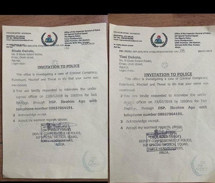 Police Invite Timi Dakolo, Busola Over COZA Saga