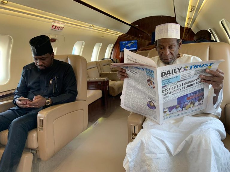 Rescued Daura Monarch 5 768x576 - Buhari's ADC Welcomes Father-In Law After 5 Months Of Kidnap (Photos)