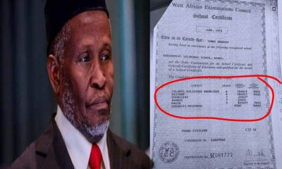 Breakdown Of CJN Tanko Muhammad's WAEC Result