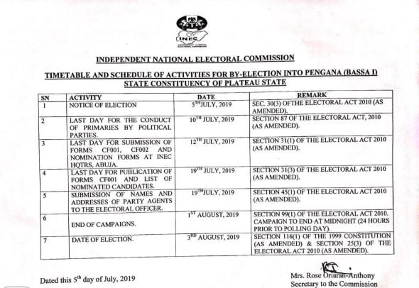 Time Table - INEC Releases Timetable For Bye-Election In Plateau