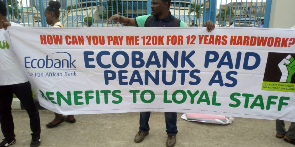 eco bank protest - Organized Labour Pickets Ecobank Over Sack Of Workers As Bank Denies Action