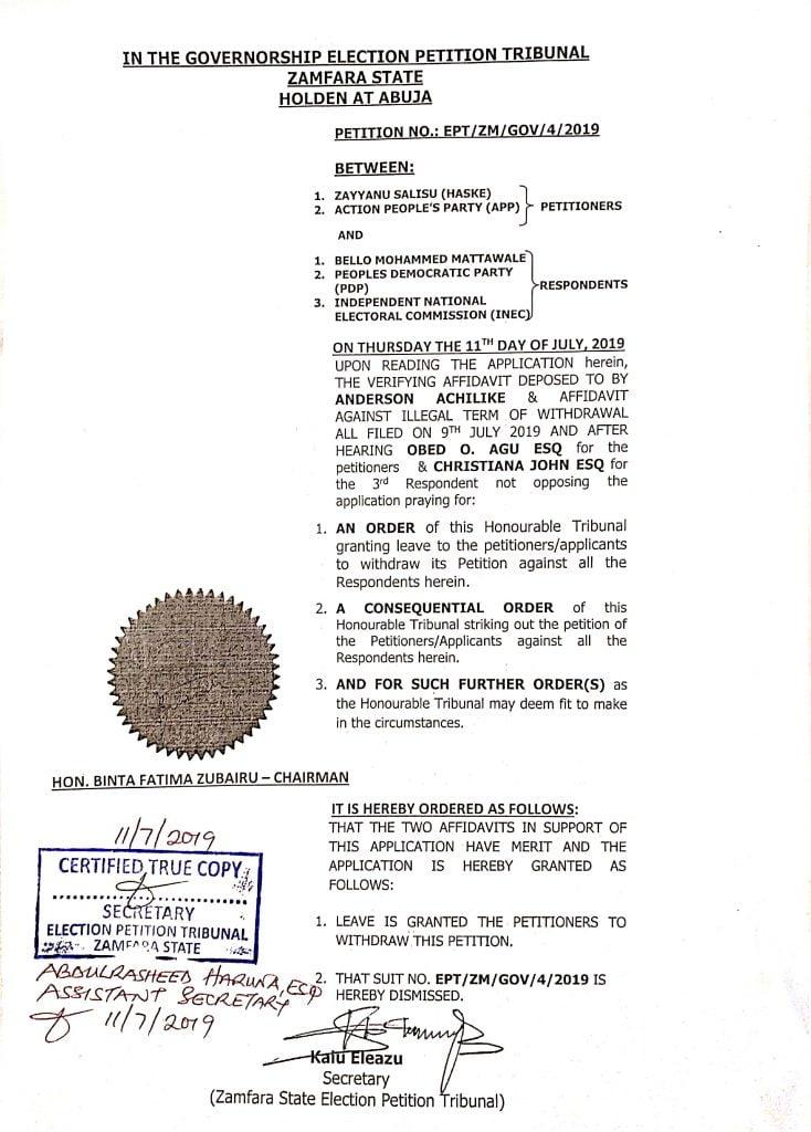 zamfara petition strike out judgment 1 734x1024 - Zamfara Guber: APP Withdraws Suit Against Gov Mattawale