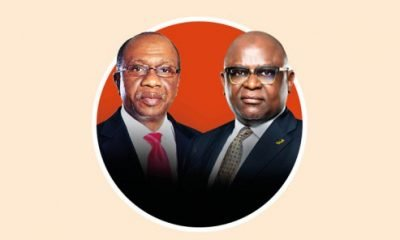 Godwin Emefiele, Governor of the Central Bank of Nigeria and Adesola Kazeem Adeduntan, Managing Director of First Bank of Nigeria