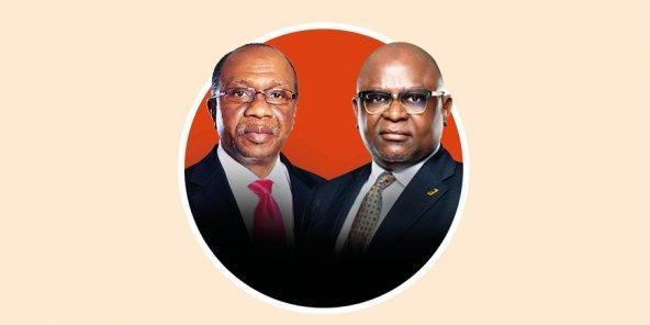 Godwin Emefiele, Governor of the Central Bank of Nigeria and Adesola Kazeem Adeduntan, Managing Director of First Bank of Nigeria