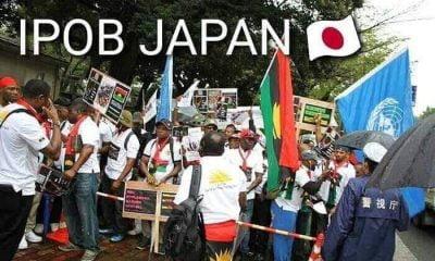 See Photos Of Protesting IPOB Members Waiting For Buhari In Japan
