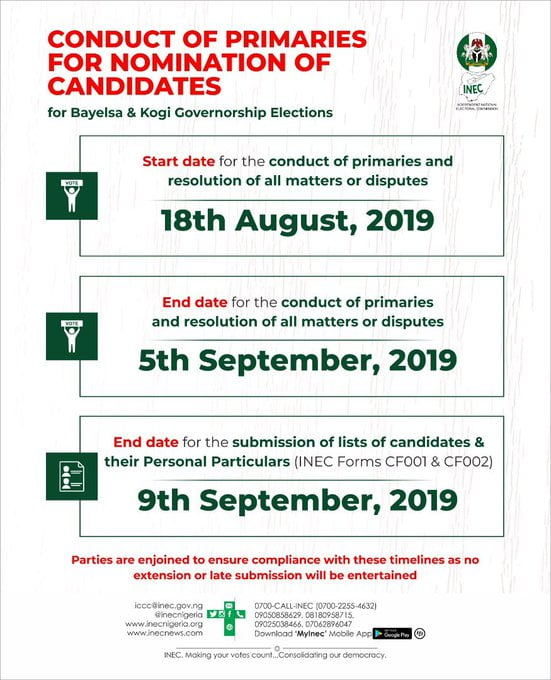 Kogi and Bayelsa timeline polls - Just In: INEC Releases Timeline For Conduct Of Kogi, Bayelsa Governorship Primaries
