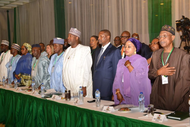 PIC 4 Presidential Retreat for Ministers designate in Abuja 750x500 - Oyo-Ita Absent As President Buhari Opens Retreat For Ministers-Designate