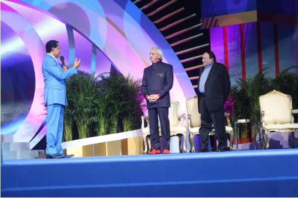 Pastor Chris Oyakhilome is joined on stage by Pastor Benny Hinn and Dr. Morris Cerullo for the evening session of Day 1 at the World Evangelism Conference
