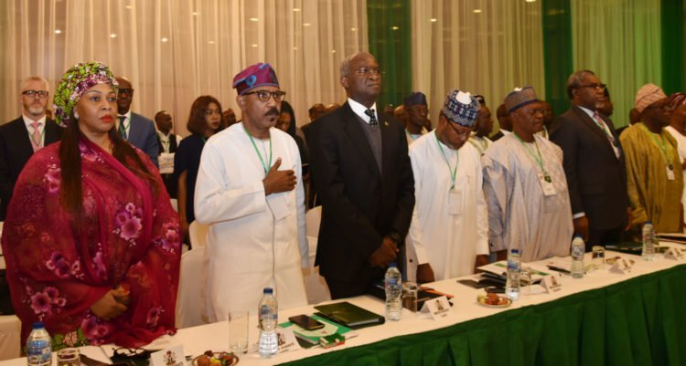 Pic 5. Presidential Retreat for Ministers designate in Abuja 750x401 - Oyo-Ita Absent As President Buhari Opens Retreat For Ministers-Designate