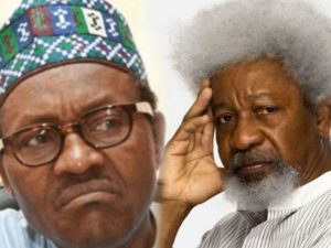 Buhari and Soyinka 300x225 - Buhari Not Responsible For Nigeria's Division – Presidency Replies Soyinka