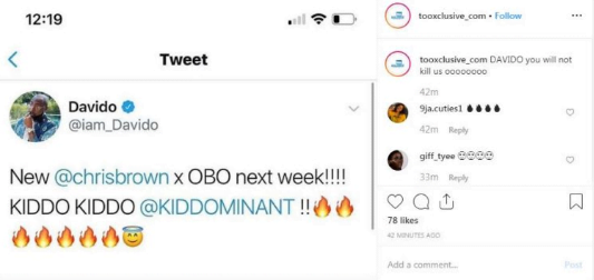 Davido Tweet - Davido To Release Another Track With Chris Brown