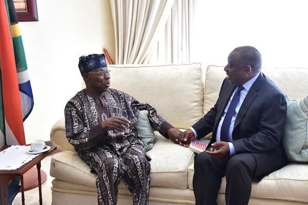 Obasanjo Visits South African President, Discusses Xenophobic Attacks On Nigerians