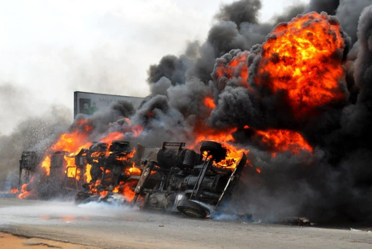 Petrol Tanker Flames On Lagos-Ibadan Expressway